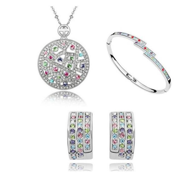 OMH venta al por mayor de oro blanco de 18 KT austriaco lleno de cristal conjuntos de joyas multicolor collar + pendientes + pulsera TZ176