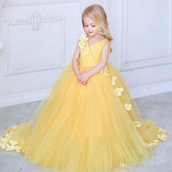 Новое прибытие 2018 цветочница платья V шеи развертки поезд 3D цветочные аппликация девушки формальная одежда