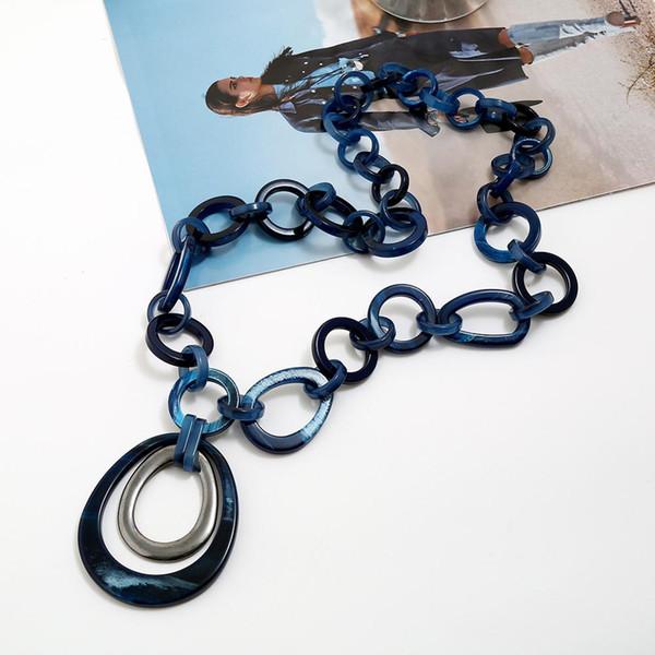 Boho uzun Link Zinciri Akrilik kalp Kolye Kolye Kadın Yakası Gerdanlık kolye Vintage Takı Chocker Aksesuarları Bijoux femme