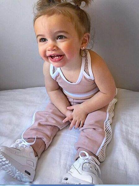 INS горячая распродажа детский спортивный костюм спортивный костюм для девочек спортивная летняя детская одежда для девочек детская одежда для девочек детский спортивный костюм жилет + брюки A7659