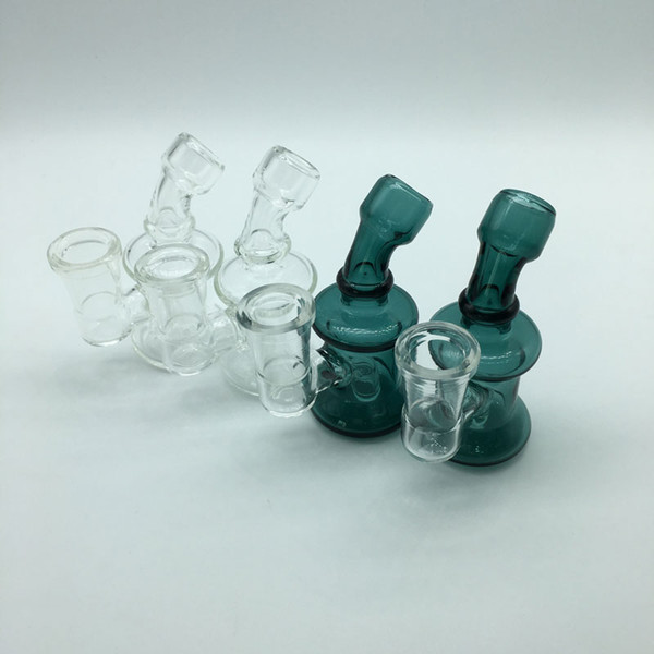 Mini Glass Bongs Dab Rigs With 14mm Female Joint Clear Green 3.3Inch Cheap Small Recycler Glass Bong Water Pipes Oil Rigs