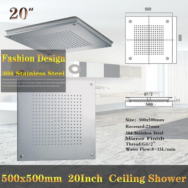 Großhandel Europa Design 20 Zoll Großer Duschkopf Eingebettet Decke Regen  SUS304 Polnischen Niederschlag 500 * 500mm Quadratische Duschköpfe Von ...