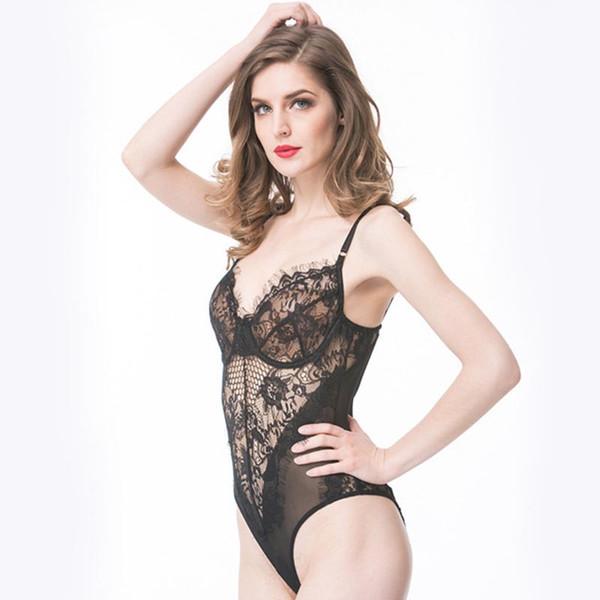 top popular Women Ladies Lace Sleepwear costumes Sexy V Neck Erotic Babydoll Lingerie Strappy Bra Halter Night Dress Bodysuit woman clothes drop ship 2021