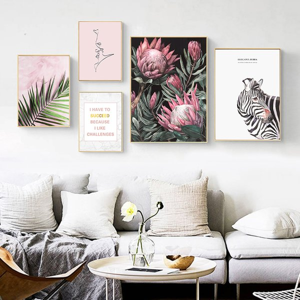 Nordic Fresh Pink Floral Creative English Zebra Leaf Canvas Painting Art Abstract Print Poster Picture Wall Home Decoration