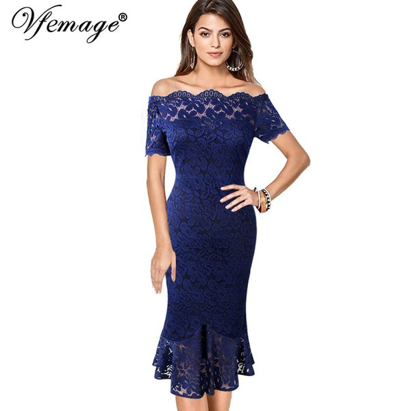 Vfemage Donna Off Spalla Vintage Floral Lace Pinup formale Cocktail Wedding Party Bodycon Mermaid Matita Wiggle Midi Dress 980 J190714