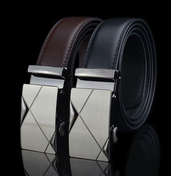 Hommes d'affaires occasionnels Ceintures noires Boucle automatique Ceinture Designer de mode populaire ceintures en cuir de luxe pour hommes