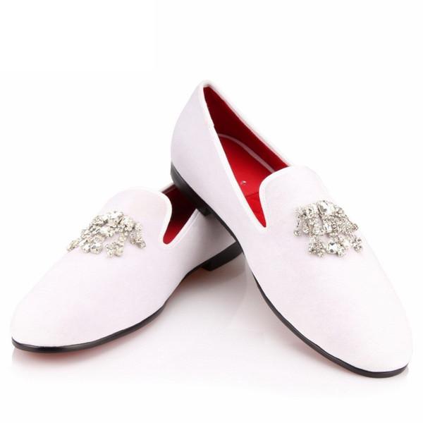 COOL TIRO Zapatos de vestir de terciopelo blanco Hombres Mocasines Fumadores de diamantes de imitación de cristal de la borla de la fiesta de boda pisos Pisos zapatos casuales