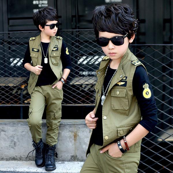 Primavera big boys Khaki ArmyGreen abbigliamento set 3 pezzi per bambini big kids Giacca T-shirt pantaloni abbigliamento per 6 8 10 12 14 16 anni