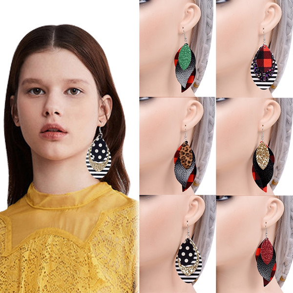new fashion three layers leopard plaid leather dangle earring retro hollow leaf pendant pendientes for women jewelry oorbellen