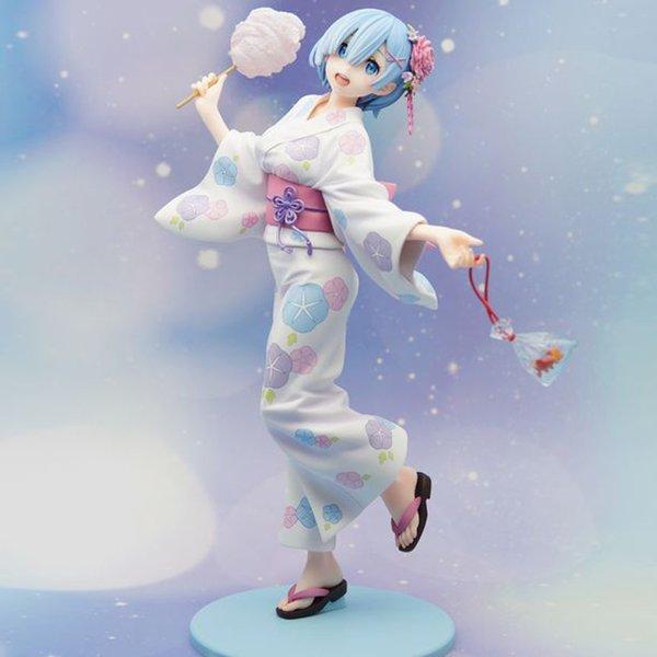 2019 nuevo Anime RE: Cero vida inicial en otro mundo: figura de Yukata Rem. Figuras de acción de PVC modelo muñeca Sexy Gril