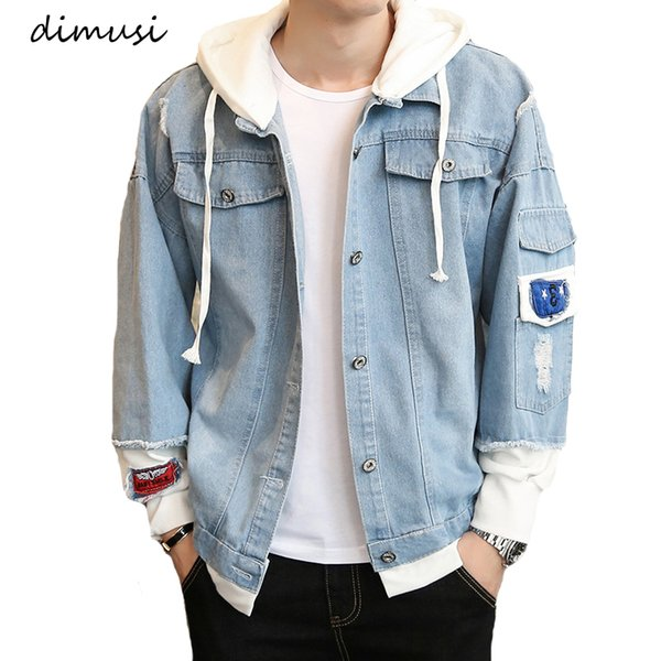 dimusi autumn mens denim jacket hip hop fashion thin ripped denim jacket mens jeans outwear male cowboy coats 3xl,ta294 - from $29.34