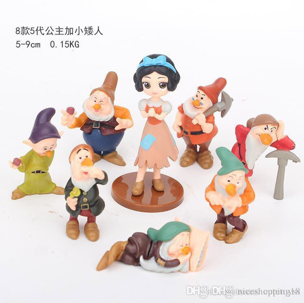 Pretty store Sales Snowwhite and 7pcs small man dolls Kawaii Children Toys Anime Action Figures Realistic Dolls for girls 8Pcs/lot