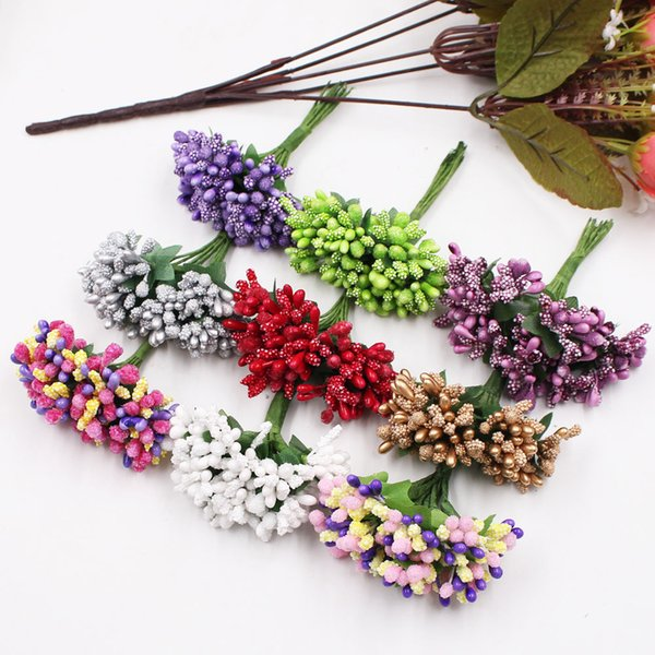 12Pcs/lot Handcraft Artificial Flowers Stamen Sugar Wedding Party Decoration DIY Wreath Gift Box Scrapbooking Cheap Fake Flowers