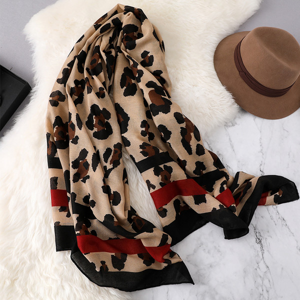 Design Leopard Print 2019 women scarf fashion pashmina for lady cotton scarves shawls and wraps neck head hijabs sui0158