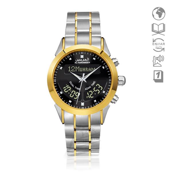Muslimische Geschenk ALFAJR Uhr für islamische Fajr-Uhr mit Gebetsalarm Hijiri Goldene Uhr für Männer Dual Time Armbanduhr Athan