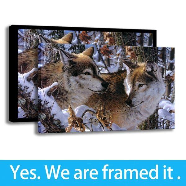 Großhandel Gerahmte Wandbilder Für Wohnzimmer Malerei Kunst Tier Wolf Druck  Auf Leinwand Veranda Dekor Fertig Zum Aufhängen Von Artistplus, $8.55 Auf  ...