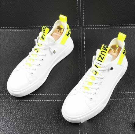 via dello popolari giallo nastro di colore di comodità dei fannulloni degli uomini di moda casual scarpe da sposa Prom pattini degli appartamenti Man