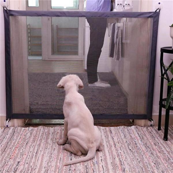2019 Magic-Gate Dog Cercas Pet Portátil Dobrável Guarda Segura Isolamento Fence Proteção Mesh Segurança Portão Mágico Para Cães Gato Pet Supplies B3113