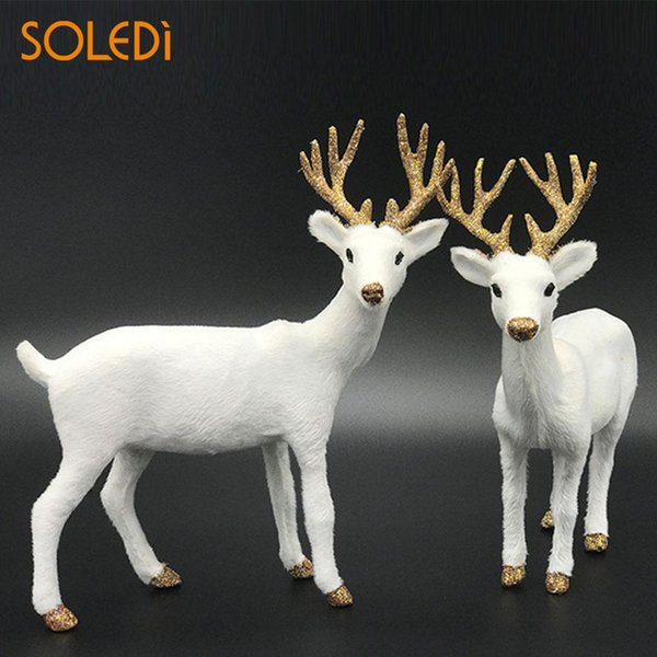 Nordic White Deer Decorations 2 Size Standing animal home decor Reindeer Toy Plush Reindeer Elk Deer Colgante Adornos