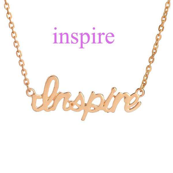 Inspirada bloco carta palavra inspire pingente charme colar e cadeia de jóias