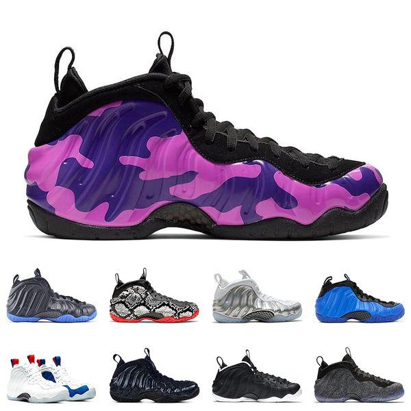 Nike Air Foamposite Pro Penny Hardaway Homens Sapatos de Basquete NÇCKS EUA OBSIDIAN GLITTER ROXO CAMO HIPER COBALTA DR.DOOM SNAKESKIN formadores Esporte Tênis 7-13