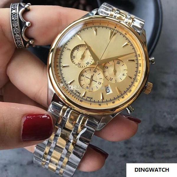 Все Subdials Work Luxury Мужские часы Высочайшее качество Кварцевый механизм из нержавеющей стали Многофункциональный циферблат Мужские наручные часы для бизнеса Montre