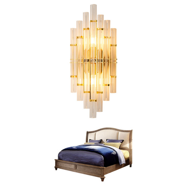 Modern Lustre Crystal glass Led Wall Lamp Gold Bedroom Wall Light Fixtures for Living Room Corridor Wall Sconce AC110-220V