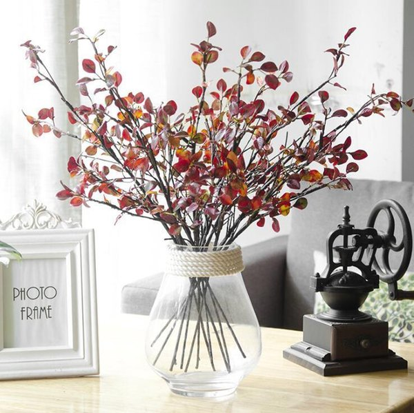 Artificial Plastic Tree Branches With Red Silk Leaves For Autumn Home Christmas Decoration Fake Flowers Plants Wreath Floristics