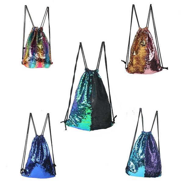 9 Colors Mermaid luxury designer Backpack Sequins Bunch Pocket Outdoor Sports Backpack Flash Sports Shoulder Bag Travel Bag