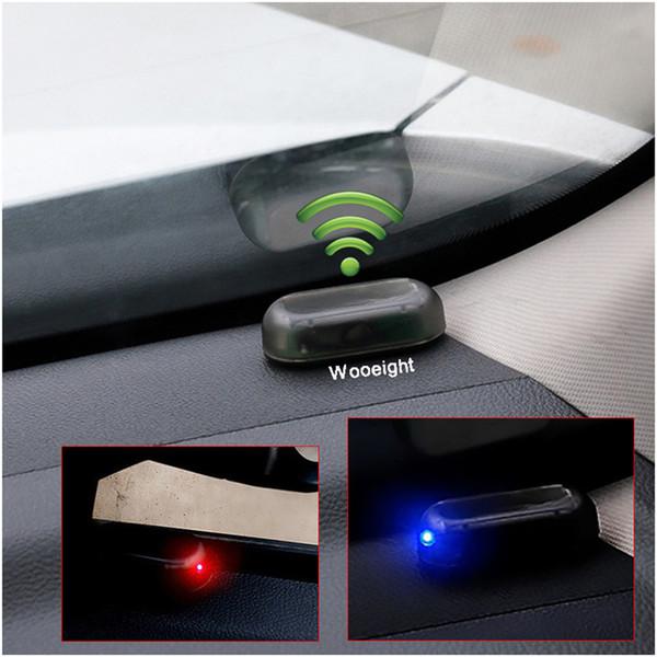 Поддельный Универсальная автомобильная Солнечная лампа аварийной сигнализации системы безопасности Предупреждение Кража вспышки мигает Anti-Theft Предупреждение LED Light Blue