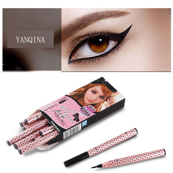 top popular NEW YANQINA 36H Makeup Eyeliner Pencil Waterproof Black Makeup Eyeliner Pen No Blooming Precision Liquid Eye Liner 12pcs set Wholesale 2021