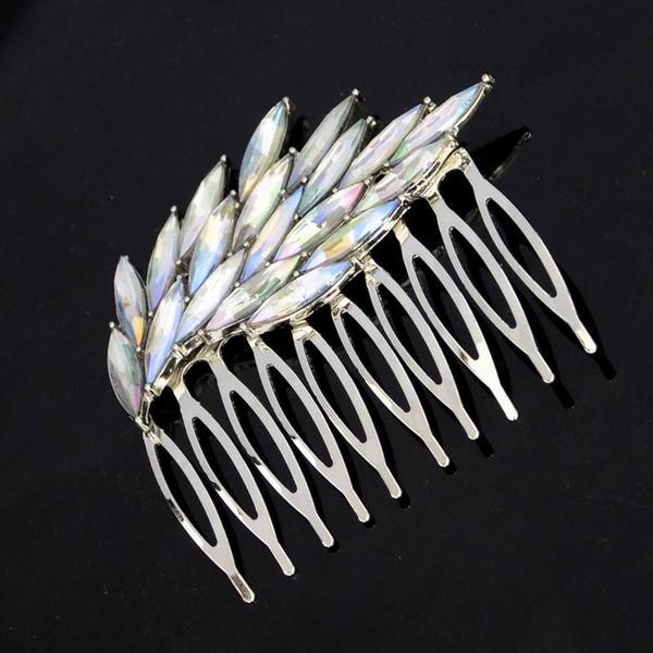 Moda argento colore cristallo colorato strass ali piume capelli clip pettini forcine per capelli di lusso per le donne gioielli da sposa capelli