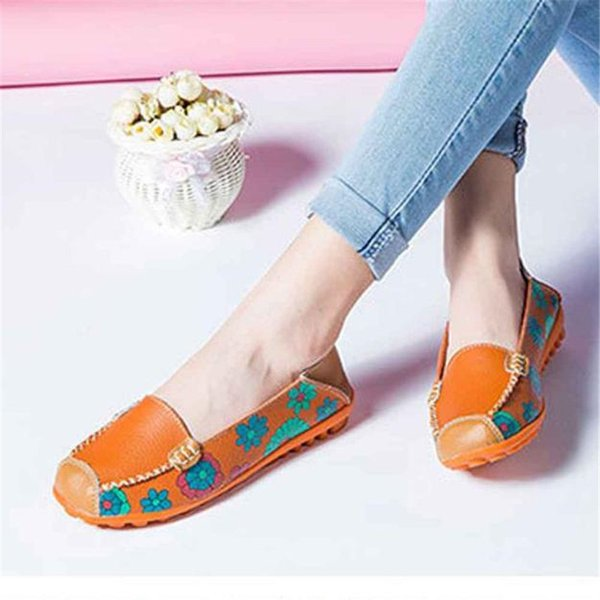New Women Fashion Leather Shoes Loafers Soft Leisure Flats Female Casual Shoes