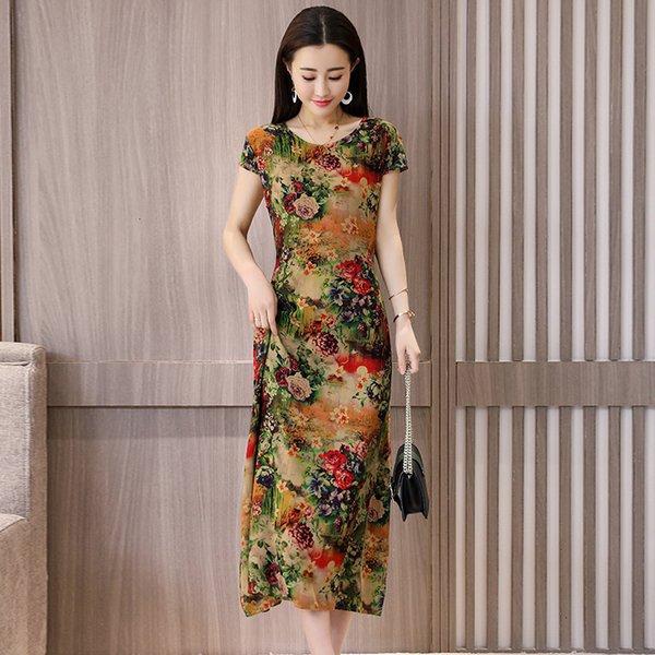 Femme Vêtements Femme Fashion Nouveau O cou Mi-mollet Robe dames col rond manches longues imprimé Slim Drop Shipping Vêtements Designer