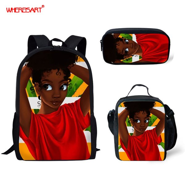 WHEREISART Schultaschen für Mädchen Sweet Cute Cartoon Afro Black Girls Zeichnung Kinder Rucksack Kids Bookbag Primary Schoolbags