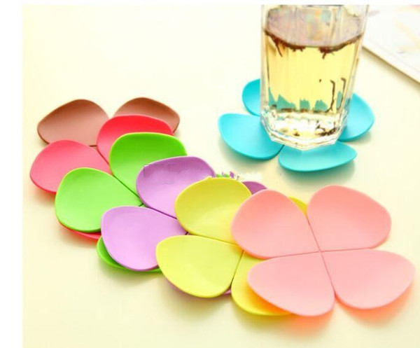 3D Mixed Colors Flower Petal Shape Cup Coaster Tea Coffee Cup Mat Table Decor Durable Pretty Drink Accssary