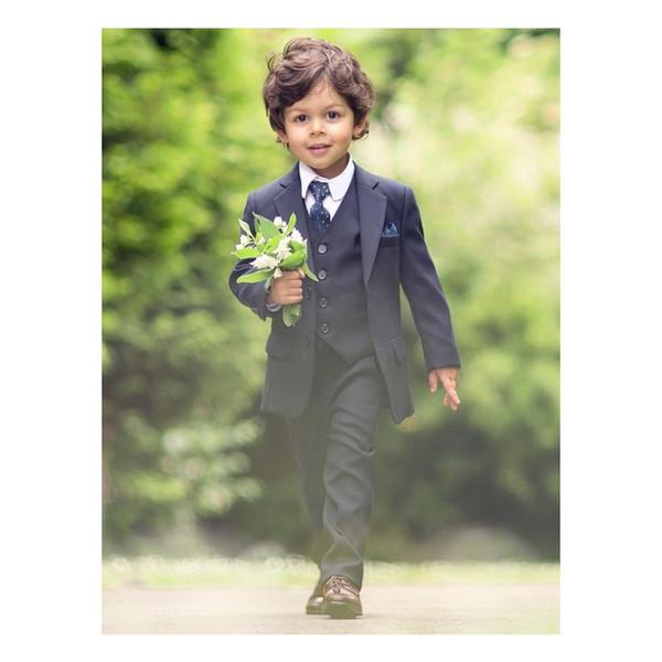 Classic Black Boy Wedding Suit 2019 Two Button Notched Lapel Boys Occasion WearTuxedos Prom Suit Ring Bearer Suits( jacket+pants+vest+tie)