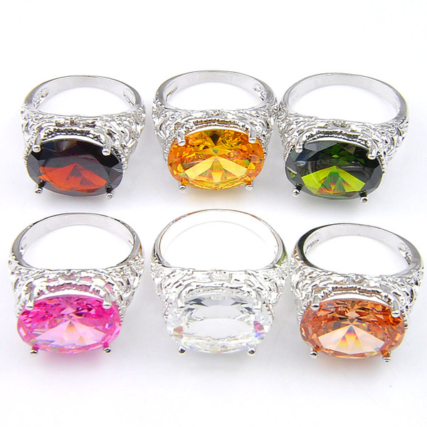 Wholesale supply 10 pcs/Lot 12*16 Faceted Cubic Zirconia Ring 925 Sterling Silver Fashion Unisex Engagement Jewelry Ring NEW