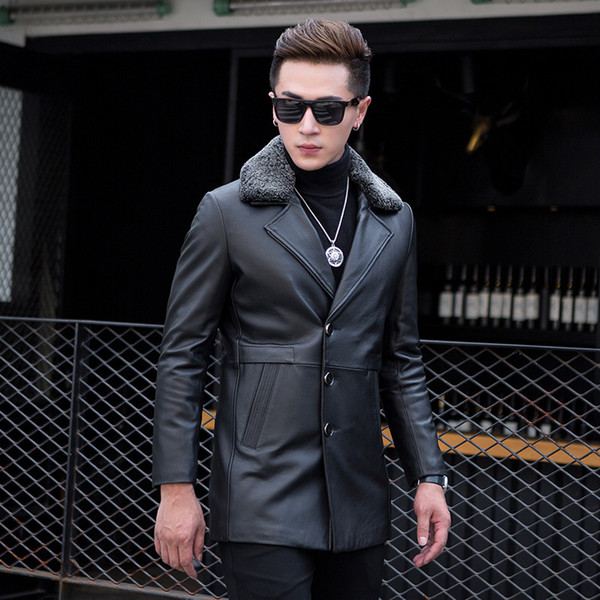 2018 Motorcycle Jacket Shearling Mens Clearance Haining Leather New Male Sheep Skin And Long Furs In Cotton Wool Detachable