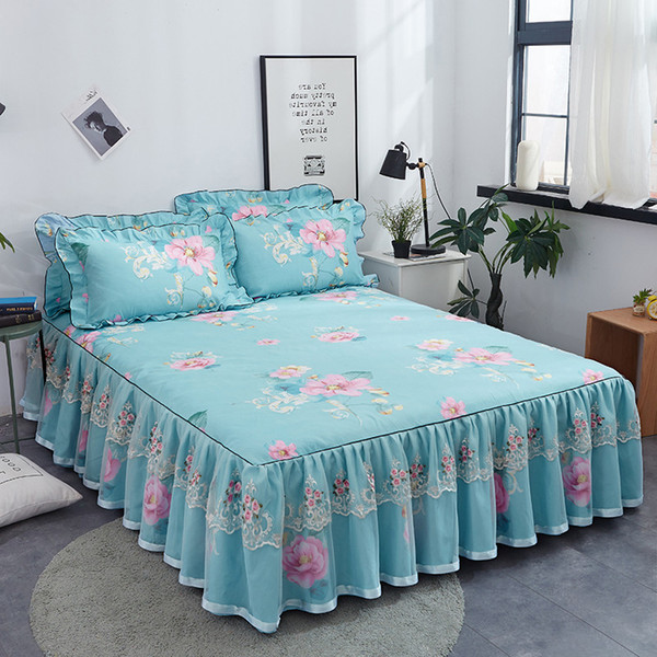 Cotton Fashion Floral Bedspread Lace Sanding Thicken Bed Skirt King Queen Size Soft Comfortable Double Layer Fitted Sheet
