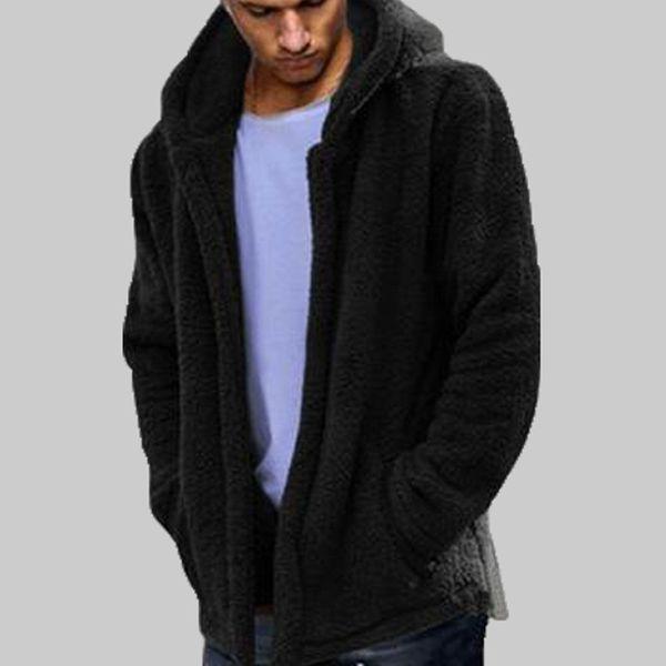 Mens Winter Warm Bear Pocket Fluffy Coat Fleece Fur Jacket Cappotto di Capispalla