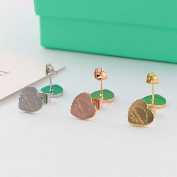 T Letter Love Shape Earrings 18K Titanium Steel Stereo Gold Female Couple Fashion Accessories Jewelry Brand Designer