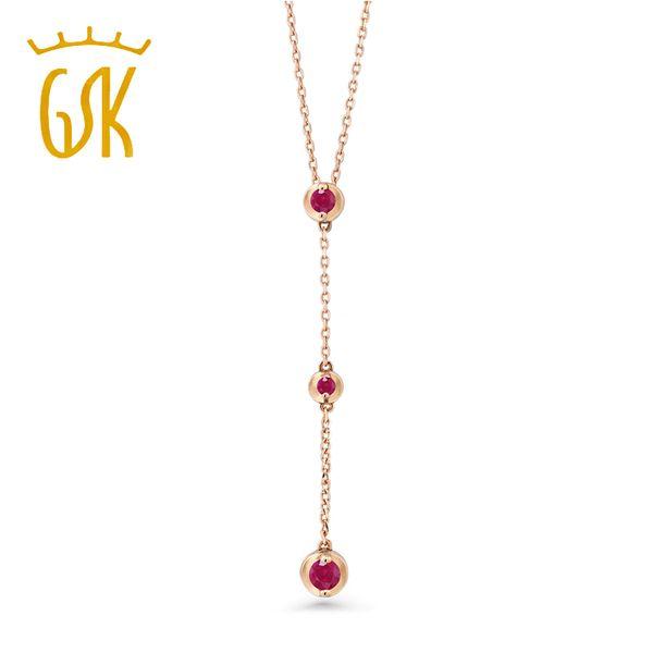 GemStoneKing 0.14Ct Klassische runde natürliche rote karminrote 14K Rose Gold 3-Stein Halskette für Frauen mit 18-Zoll-Kette Schmuck