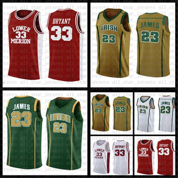 Ирландская средняя школа Леброн 23 Джеймс NCAA Джерси Нижняя Мерион Кобе 33 Брайантского университетского колледжа Баскетбольные майки Мужская вышивка
