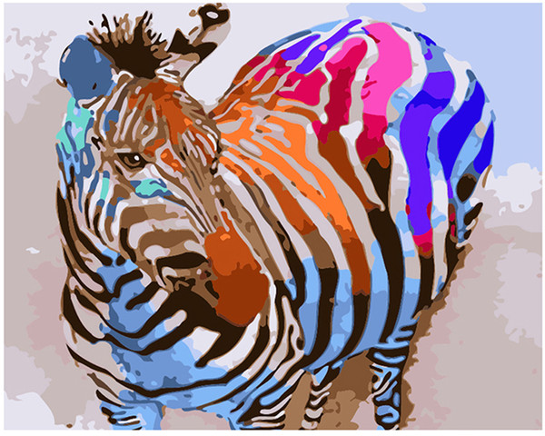 """Kits Paint Oil Paint DIY Painting By Numbers Adult Hand Painted-Rainbow zebra 16""""x20"""""""