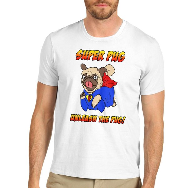 Twisted Envy Men's Super Pug Unleash The Pug Funny T-Shirt Brand shirts jeans Print