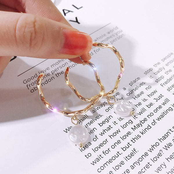 Alta calidad 925 de plata de la aguja del oro de la onda pendientes del círculo pendientes de la perla mujer exagerada Shell pendientes al por mayor