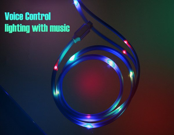 Light up Music Led 2A Rapid Charging 1m 3ft USB Data sync Sound Control electric Cord for Samsung Galaxy S8 S9 Plus for Huawei for Xiaomi