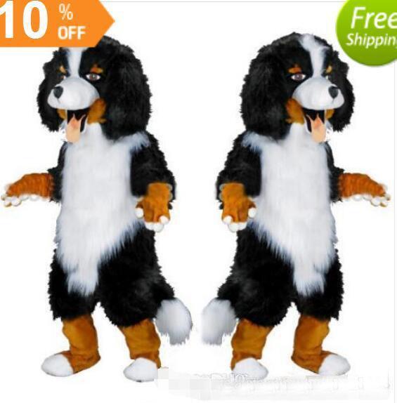 Schnelles design Benutzerdefinierte Weiß Schwarz Schäferhund Maskottchen Kostüm Cartoon Charakter Kostüm für partei versorgung Erwachsene Größe olome