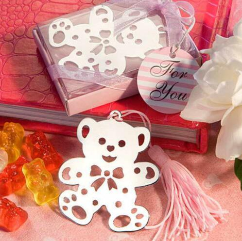 200pcs Wholesale Cute Silver Teddy Bear Bookmark For Birthday Bridal Baby Shower Christening Wedding Gift Party Favor